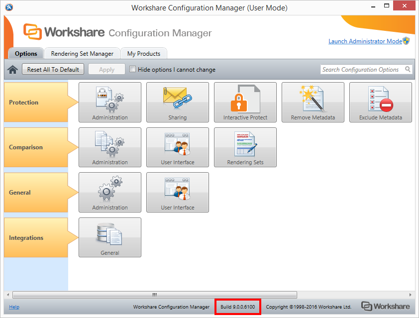 The build number is displayed at the bottom of the Workshare Configuration Manager as a series of numbers separated by dots.