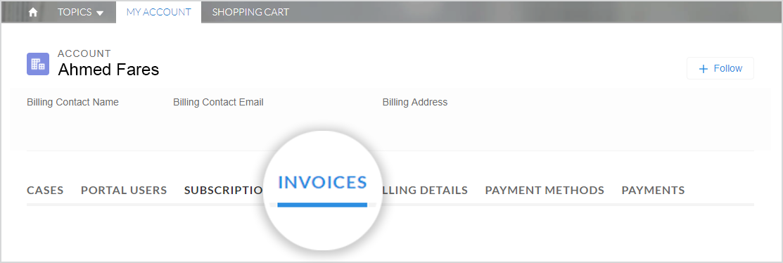 "This image shows the ""My Account"" tab selected and ""Invoices"" highlighted."