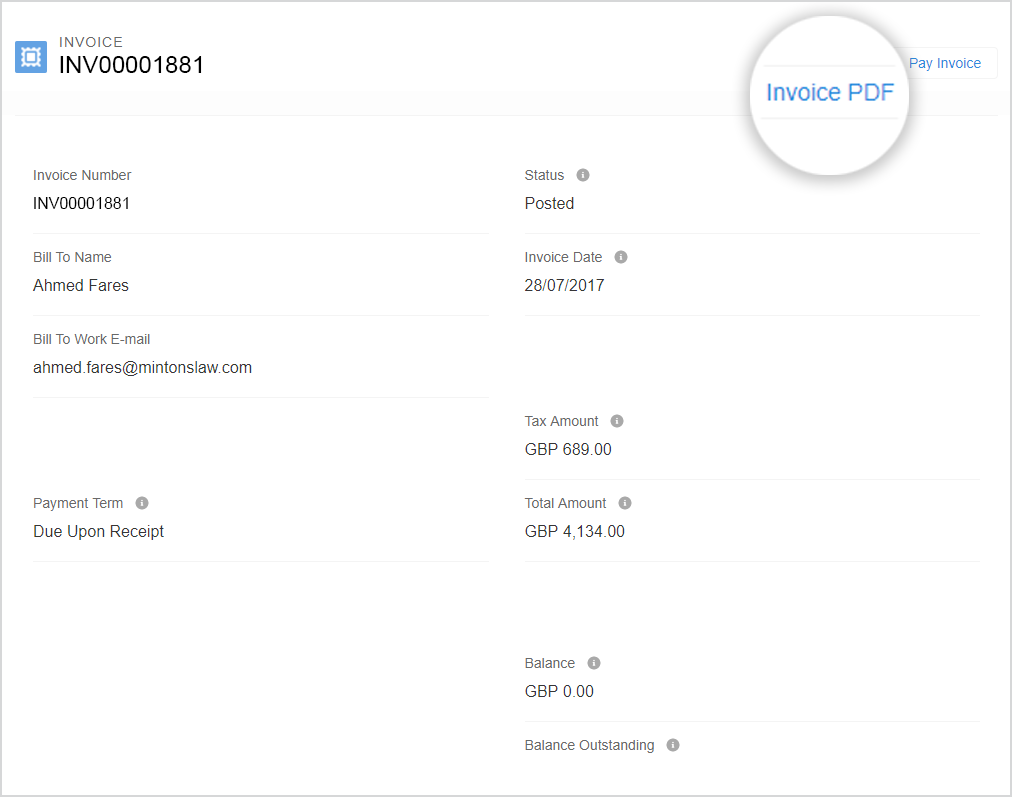 "This image shows the invoice page with the ""Invoice PDF"" button highlighted."