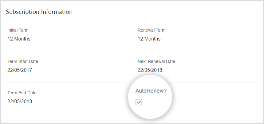 "This image shows the ""AutoRenew"" checkbox highlighted. It is located toward the bottom of the subscription details."