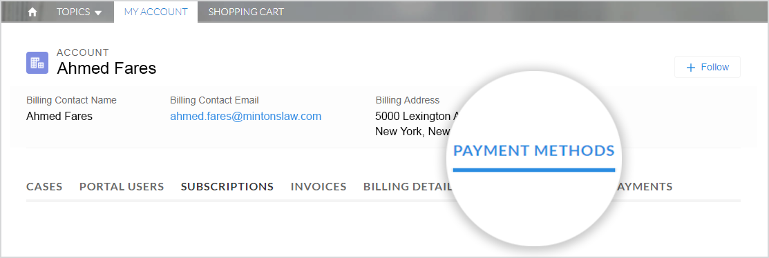 "This image shows the ""My Account"" tab selected with ""Payment Methods"" highlighted."