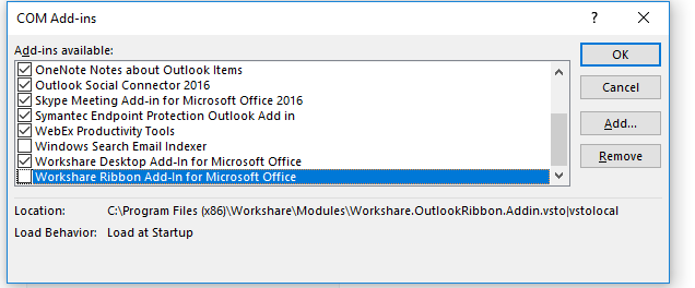 knowledgebase - Workshare Outlook add-in is not enabled after the